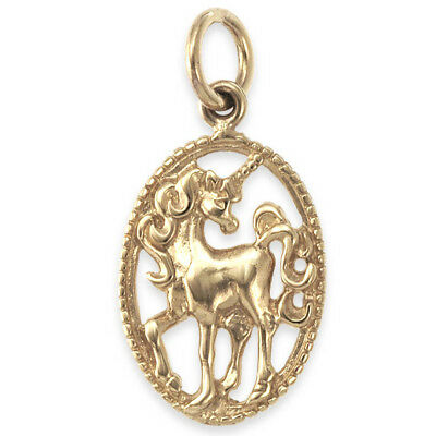 Solid 9ct Gold UNICORN Oval Pendant (Handmade UK)