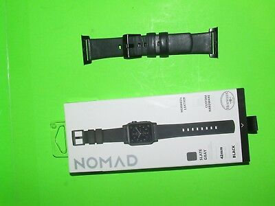 Nomad - U.S.A Leather Watch Strap for Apple Watch 42mm - Gray with Black Lugs !