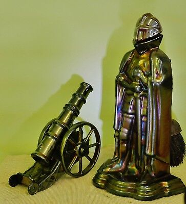 Vintage Pearlised Cast Iron Knight & Cannon Fireside Companions