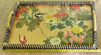 Vintage Glass Topped Serving / Tea Tray with Japanese Print Decoration