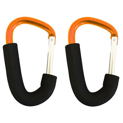 Buggy clips x2 large pram pushchair shopping bag hook carry clip, Orange K4G6