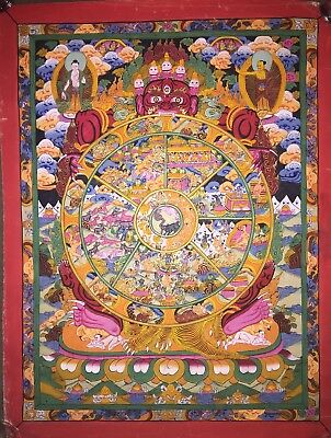 Rare Tibetan Chinese HandPainted Original Thangka Mandala Meditation Painting