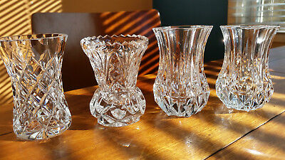 Four Crystal Bud Vases Nice Mixed Lot