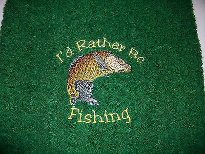 Fishing Towel Embroidered With Carp Design