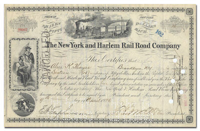 New York and Harlem Rail Road Company Stock Certificate (Older Type)