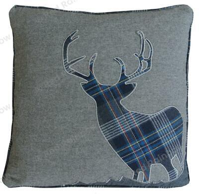 Tartan Stag LARGE 22 Inch Navy Blue  & Grey Cushion Cover Soft Check Fabric