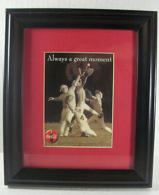 """Coca Cola Framed Print Baseball Players """"Always a Great Moment"""" 8.5 x10"""""""