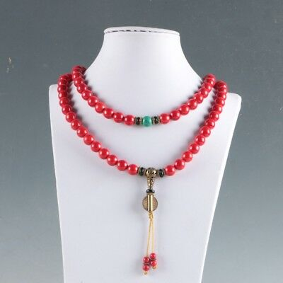 100% Natural Red Coral &Brass Handwork Decoration Necklaces  LXL026