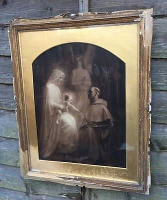 Large Antique Victorian Picture Madonna And Child In Gold Gilt Frame