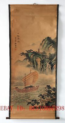 Old Collection Scroll Chinese Painting / Sailing Boat In The Wind (一帆风顺) ZH1010