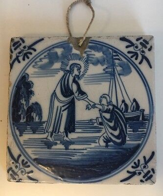 Antique Early Delft Blue And White Tile John The Baptist