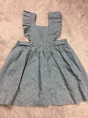 Vintage Toddler Girls Dusty Blue Floral Rose Pinafore Dress
