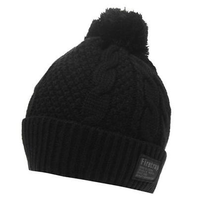MENS WOMENS GREY FIRETRAP CABLE THICK KNIT WOOLLY BEENIE BEANIE BOBBLE HAT