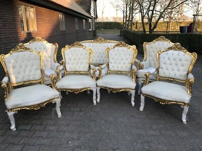 Antique French Louis Xvi Living Room Set: Sofa/settee With 6 Chairs