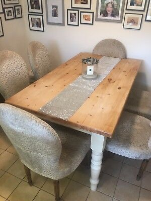 Rustic Farmhourse Victorian Table with Scrubbed Top and Cream Washed Legs