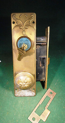 HUGE RUSSELL & ERWIN ENTRY MORTISE LOCK w/ CYLINDER, KEY, PLATES & KNOBS (9920)