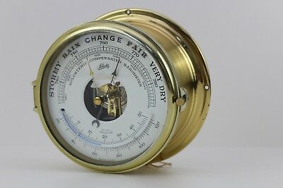 ✅ Schatz / Compensated Precision Barometer / Bullauge / Messing / Thermometer #P