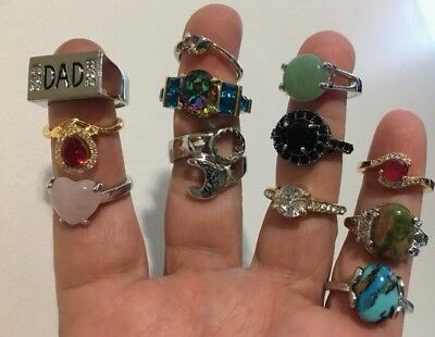 ⭐  Lot Of 12 Junk Drawer Rings Vintage~Modern Costume Fashion Fun Jewelry  ⭐️