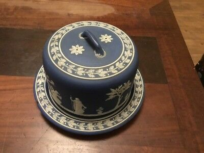 Antique Wedgwood Blue Jasper Ware Domed Cheese Dish (c.1800)