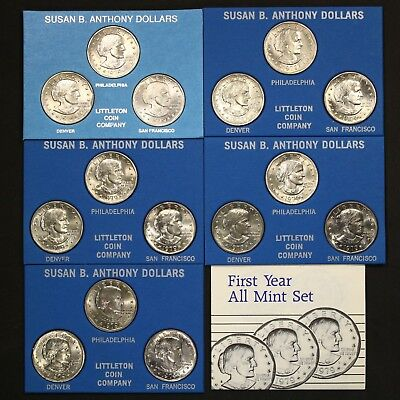 1979 P D S Susan B Anthony First Year All Mint Set 15 Total Coins Free Shipping