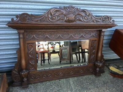 A beautifully carved  antique Oak,  Mirrored Overmantle