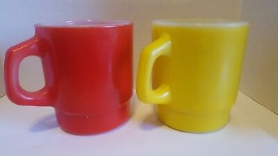 2 Anchor Hocking  Fire King Stackable Mugs Milk Glass D Handle 1 Red 1 Yellow