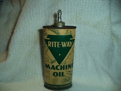 Excellent Vintage Very Rare Rite-Way Machine Oil Tin Can Handy Oiler Lead Top )