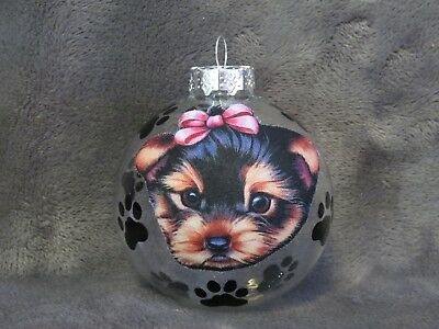 "Hand Made Yorkshire Terrier Puppy Dog 3"" Glass Christmas Ornament/ball"