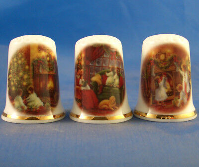 Birchcroft Thimbles -- Set of Three -- Traditional Christmas