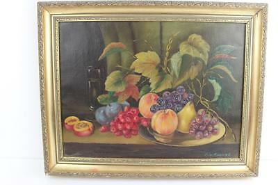 Gilt Framed Still Life Oil on Canvas by R.W. Richmond Signed 48cmx38cm W/Frame