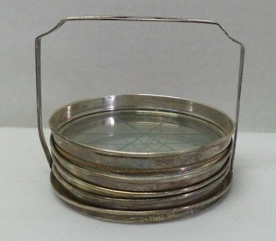 Vintage Webster Co. Sterling Silver Glass 4 Coasters and Caddy Holder