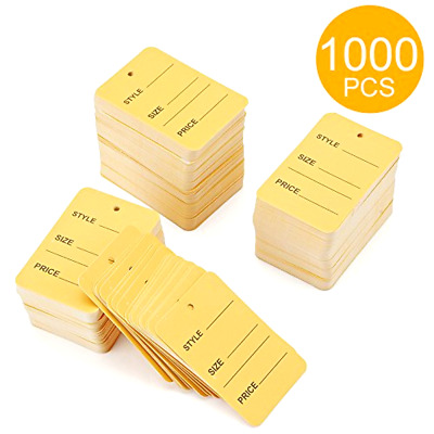 1000pcs Yellow One Part Unstrung Perforated Price Coupon Tag Clothing Price Tags