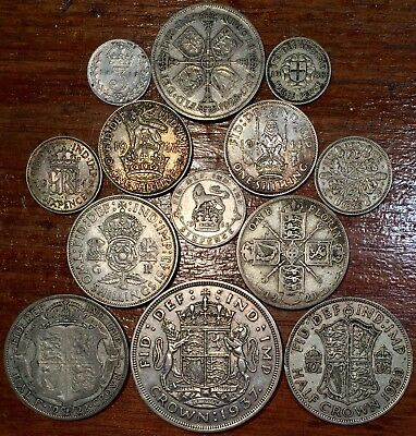 Silver Great Britain Coin Lot with Crown- mixed British Silver coins