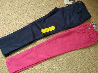 2 Pairs Girls Skinny Jeans Chinos (1 x NEW) 4-5 yrs