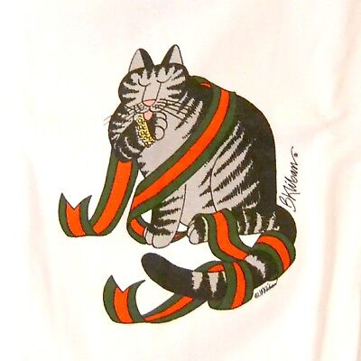 Kliban Cat Christmas Holiday Bling Wrapped In Ribbon T Shirt M Crazy Shirts Nwt