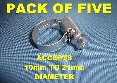 PACK OF 5, HOSE CLAMPS for 10mm to 21mm pipe jubilee clip style adjustable screw