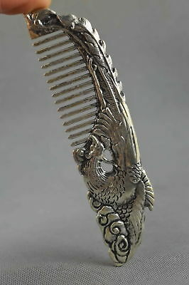 Collectable Handwork Decor Old Miao Silver Carve Fly Phoenix Royal Noble Comb
