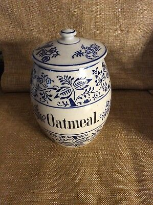 Antique German Pottery Blue Onion Storage Jar Oatmeal Cannister
