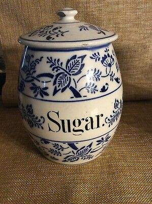 Antique German Pottery Blue Onion Storage Jar Sugar Canister