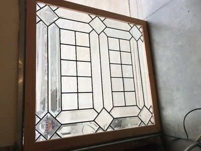 Sg 16737 Antique Or Beveled Glass Landing Window 45 X 47.5