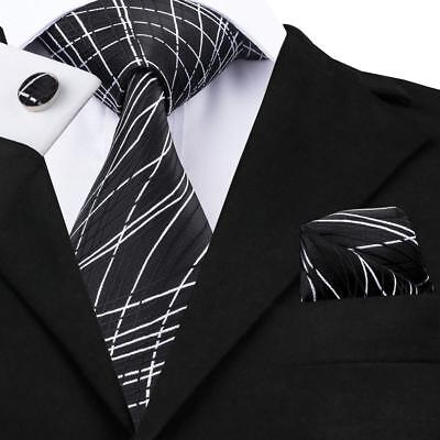 USA Black White Striped Necktie Mens Silk Tie Set Formal Casual LS-1171