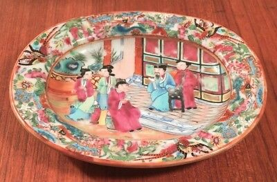 ANTIQUE 19th CENTURY CHINESE EXPORT ROSE MANDARIN OVAL DISH