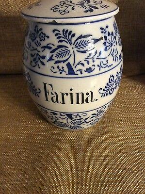Antique German Pottery Blue Onion Storage Jar Farina Canister
