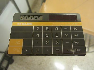 Vintage Elbe Ct-401 Card Solar Calculator. Very Rare. Made In Spain.