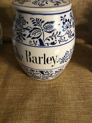 Antique German Pottery Blue Onion Storage Jar Barley  Canister