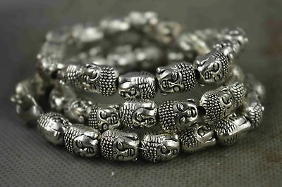 Chinese Collection Handwork Old Miao Silver Carve Gracious Buddha Head Necklace