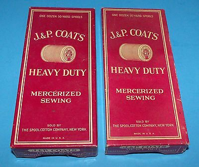 Pair of Vintage J & P Coats Heavy Duty Mercerized Sewing Boxes