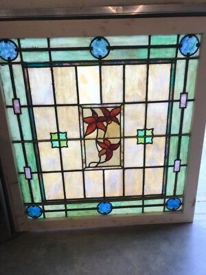 Sg 1739 Antique Stained Glass Floral Landing Window 38.25 X 40.25