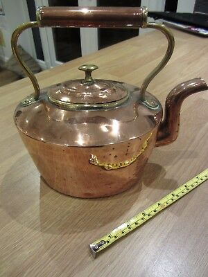 Antique Vintage Oval Copper Kettle Weight 941grms - H 24cms