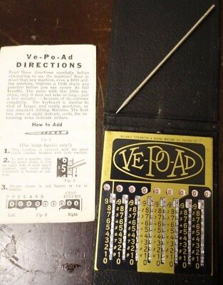 Antique Ve-Po-Ad Pocket Adding Machine with Instructions Beautiful Condition!